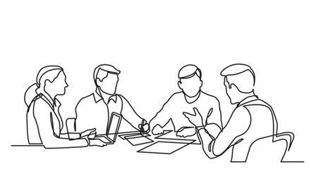 Zeichnung kleine Gruppe Mitarbeiter